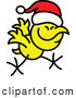 Vector of a Happy Cartoon Christmas Chicken Running While Wearing Santa Hat by Zooco