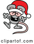 Vector of a Happy Cartoon Christmas Mouse Wearing a Santa Hat While Dancing by Zooco