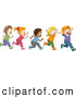 Vector of a Happy Cartoon Diverse School Children Running Together by BNP Design Studio