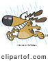 Vector of a Happy Cartoon Dog Running in the Rain by Toonaday