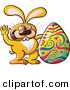 Vector of a Happy Cartoon Easter Bunny Waving Hello Beside a Painted Egg by Zooco