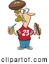 Vector of a Happy Cartoon Female Football Fan with Hot Dog, Soda, and Football Hat by Ron Leishman