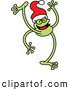 Vector of a Happy Cartoon Frog Dancing While Wearing a Santa Hat by Zooco