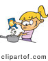 Vector of a Happy Cartoon Girl Making Macaroni and Cheese Meal by Ron Leishman