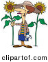 Vector of a Happy Cartoon Girl with a Green Thumb Standing Beside Tall Sunflowers in a Garden by Ron Leishman