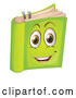 Vector of a Happy Cartoon Green Book Mascot by Graphics RF