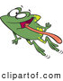 Vector of a Happy Cartoon Green Frog Jumping High with His Tongue out by Toonaday