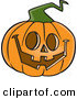 Vector of a Happy Cartoon Jackolantern Pumpkin Carving on Halloween by Ron Leishman