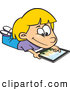 Vector of a Happy Cartoon Kid Using an IPad Computer Tablet by Ron Leishman