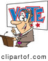 Vector of a Happy Cartoon Male Politician Giving a Vote Themed Speech Before an Election by Toonaday