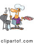 Vector of a Happy Cartoon Man Cooking Barbeque Ribs with an Outdoor Propane Grill by Ron Leishman