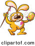 Vector of a Happy Cartoon Orange Bunny Rabbit Painting an Easter Egg by Zooco