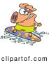 Vector of a Happy Cartoon Pig Character Surfing a Wave by Ron Leishman