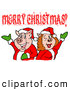 Vector of a Happy Cartoon Pig Couple Wearing Santa Outfits While Celebrating Merry Christmas by LaffToon