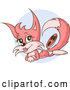 Vector of a Happy Cartoon Pink Female Fox Laying on Her Stomach by Holger Bogen