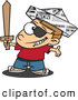 Vector of a Happy Cartoon Pirate Boy Playing with a Newspaper Hat and Sword by Toonaday