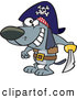 Vector of a Happy Cartoon Pirate Dog Holding a Sword by Toonaday