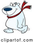 Vector of a Happy Cartoon Polar Bear Wearing a Scarf While Walking Around by Toonaday