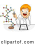 Vector of a Happy Cartoon School Boy Working on a Molecule Model by BNP Design Studio
