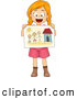 Vector of a Happy Cartoon School Girl Sharing a Drawing of Her Family and Home by BNP Design Studio