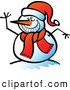 Vector of a Happy Cartoon Snowman Smiling and Waving by Zooco