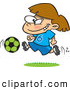 Vector of a Happy Cartoon Soccer Girl Running with the Ball by Ron Leishman