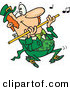 Vector of a Happy Cartoon St. Patrick's Day Leprechaun Playing Flute Music by Ron Leishman