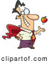 Vector of a Happy Cartoon Super Man Tossing an Apple up While Smiling by Toonaday