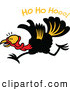 "Vector of a Happy Cartoon Turkey Running Under ""Ho Ho Hooo!"" Text by Zooco"