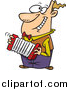 Vector of a Happy Cartoon White Man Playing an Accordion by Ron Leishman