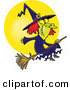 Vector of a Happy Cartoon Witch on Her Broomstick Flying in Front of the Moon During Halloween by Toonaday