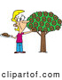 Vector of a Happy Cartoon Woman Picking Donuts from a Donut Tree by Toonaday