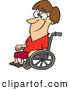 Vector of a Happy Cartoon Woman Sitting in a Wheelchair and Smiling with Crisscrossed Eyes by Ron Leishman