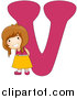 Vector of a Happy Caucasian Girl with a Big Letter V by BNP Design Studio