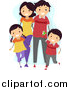 Vector of a Happy Family Walking Together and Wearing Matching Outfits by BNP Design Studio