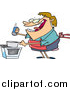 Vector of a Happy Fat Woman Salting Food in a Pan While Cooking - Cartoon Style by Toonaday