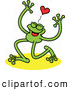 Vector of a Happy Green Cartoon Frog Smiling Under a Red Love Heart by Zooco