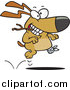 Vector of a Happy Injured Dog Running with Stick by Ron Leishman