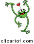 Vector of a Happy Long Legged Green Frog Under a Love Heart - Cartoon Design by Zooco