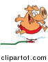 Vector of a Happy Pig Leaping over Water Sprinkler - Cartoon Design by Ron Leishman
