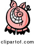 Vector of a Happy Pig with a Big Toothy Grin by Zooco