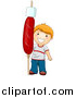 Vector of a Happy Red Haired Boy Holding a Giant Hot Dog with a Marshmallow on a Stick by BNP Design Studio