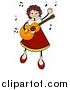 Vector of a Happy Stick Girl Dancing and Playing a Guitar by BNP Design Studio
