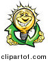 Vector of a Happy Yellow Light Bulb Character Holding Renewable Solar Energy Arrows by Chromaco