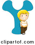 Vector of a Happy Young Boy Smiling Beside Alphabet Letter Y by BNP Design Studio