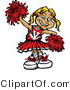 Vector of a Happy Young Cheerleader Practiving with Red Pom Poms by Chromaco