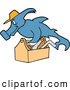 Vector of a Hard Working Cartoon Hammerhead Shark Repair Man Carrying a Wood Tool Box by LaffToon
