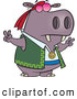 Vector of a Hippie Cartoon Hippo Gesturing Peace Signs with His Hands by Toonaday