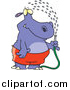 Vector of a Hippo Spraying Himself with a Hose by Ron Leishman