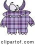 Vector of a Horned Cartoon Purple Plaid Monster with Spots by Toonaday